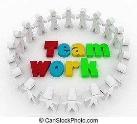 People stand around a word teamwork