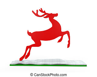 Christmas Deer Isolated on white background 3D render
