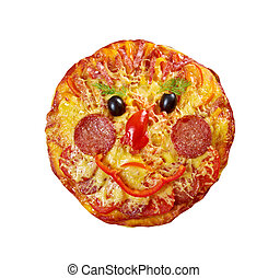 Smiley Faced Pizza.Baby menu.isolated