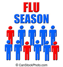 flu season - blue and red figures flu season poster...