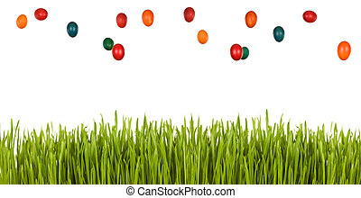 Easter egg rain over green grass - isolated