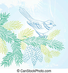 Bird on christmas fir and pinecone illustration