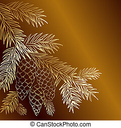 Gold  christmas fir and pinecone..  illustration.