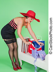 Pinup girl with present