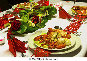 Ornate christmas dinner with lobster