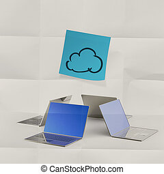 sticky note on crumpled paper with laptop computer and cloud network sign as concept