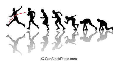 silhouettes of a man winning a marathon - silhouettes of a...