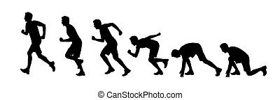 silhouettes of a man starting running - silhouettes of a...