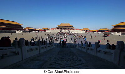Tourists inside the Forbidden City in Beijing