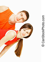 young couple isolated over white