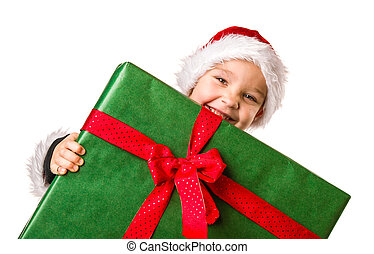 Boy and Christmas gift - Adorable 5 year old boy wearing...