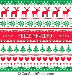 Feliz navidad card pattern - Winter red and green background...