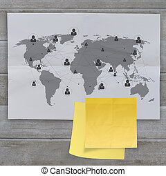 sticky note social network icon on crumpled paper background...
