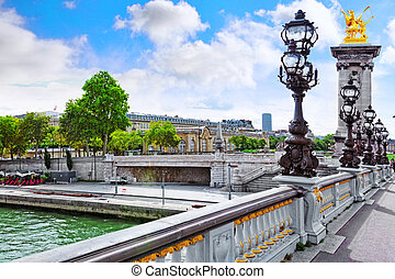 Pont Alexandre III bridge (1896) spanning the river Seine....