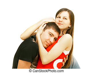 young couple over white