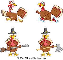 Turkey Birds 1. Collection Set - Turkey Birds Cartoon Mascot...