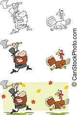 Angry Pilgrim Man Chasing A Turkey