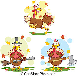 Turkey Birds 2. Collection Set - Turkey Birds Cartoon Mascot...