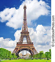Eiffel Tower -view from the Champs de MarsParis,France -...