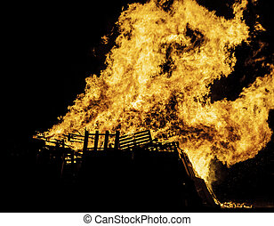 Bonfire - Blazing bonfire on Guy Fawkes night November the...