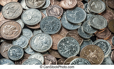 British Coins - A mixture of UK coins background
