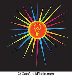 light bulb icon on a colorful star - brilliant idea concept....