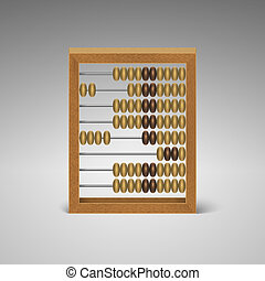 isolated retro light wood abacus for calculation