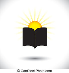 Open paper book or booklet icon with rising sun - concept...