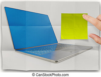 sticky note on crumpled paper with laptop computer as concept