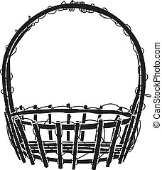 Wicker Basket silhouette Vector - image of Empty wicker...
