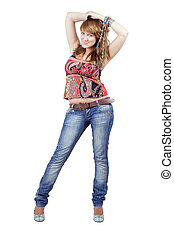 The beautiful young woman in blue jeans. Isolated on white