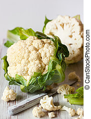 cauliflower - fresh cauliflower with green leaves