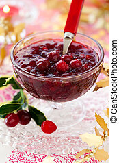 Cranberry sauce in glass dish for Christmas