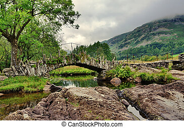 Packhorse bridge, Little Langdale,Cumbria - A stone built...