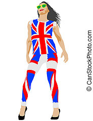 Colors of British flag - Vector drawing of dress colors of...