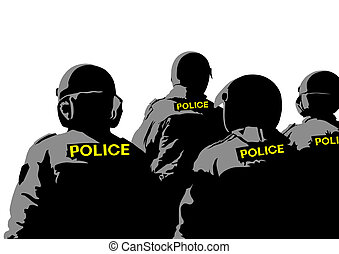 Police clothing - Vector drawing of special police force