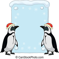 Penguins with Christmas poster - Antarctic emperor penguins...