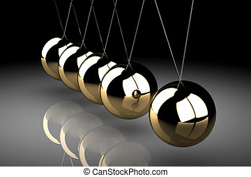 Balancing balls Newton's cradle (high resolution 3D image)