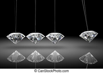 Balancing diamond Newtons cradle high resolution 3D image...