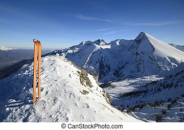 Back country ski equipment - Wide angle view of a pair of...