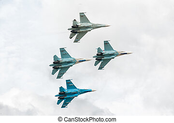Military air fighters - Russian military fighters SU-27 at...