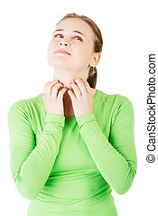 Attractive woman scratching her neck. Closeup. Isolated on...