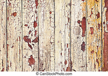 Background old wooden fence painted in different bright...