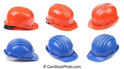 Six blue and red hard hats