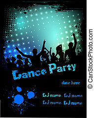 Disco party poster grunge background - Grunge border poster...