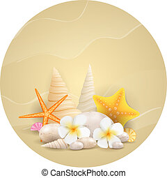 Round background with pebbles, starfishes and flowers