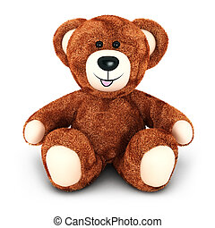 3d teddy bear, isolated white background, 3d image