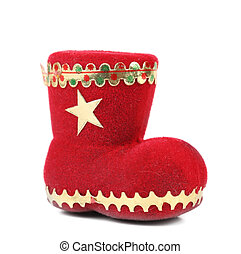 Christmas gift red boot. Isolated on a white background
