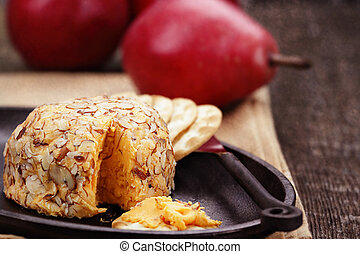 Cheese Spread - Cheese spread with almonds, crackers and red...