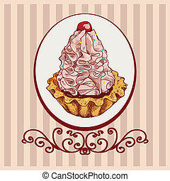 vector colored background with pink cake for your design